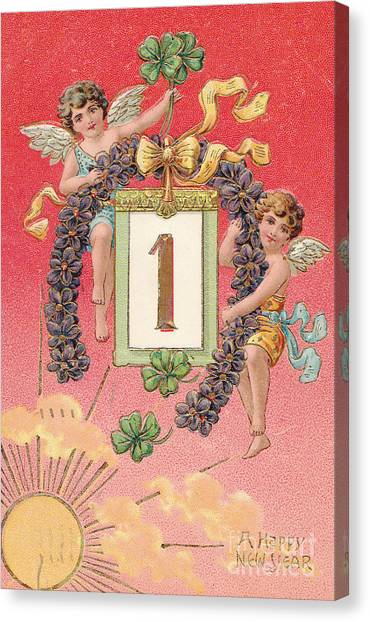 new year wishes canvas print antique new year postcard by patricia hofmeester