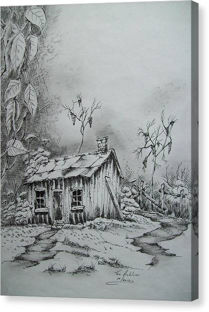 Appalachian Old Shed Canvas Print by Tom Rechsteiner