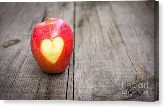 Weights Canvas Print - Apple With Engraved Heart by Aged Pixel