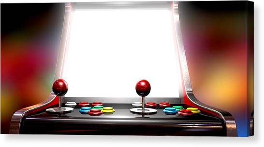 Gaming Consoles Canvas Print - Arcade Game With Illuminated Screen by Allan Swart