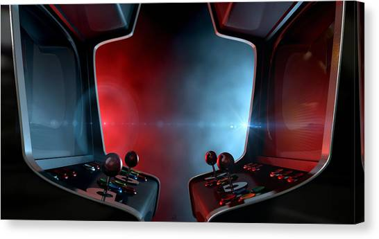 Gaming Consoles Canvas Print - Arcade Machine Opposing Duel by Allan Swart