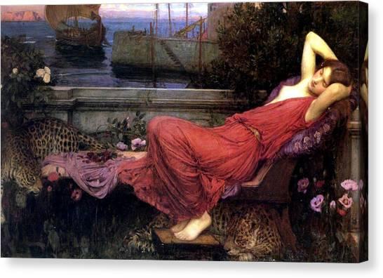 Minotaur Canvas Print - Ariadne by John William Waterhouse