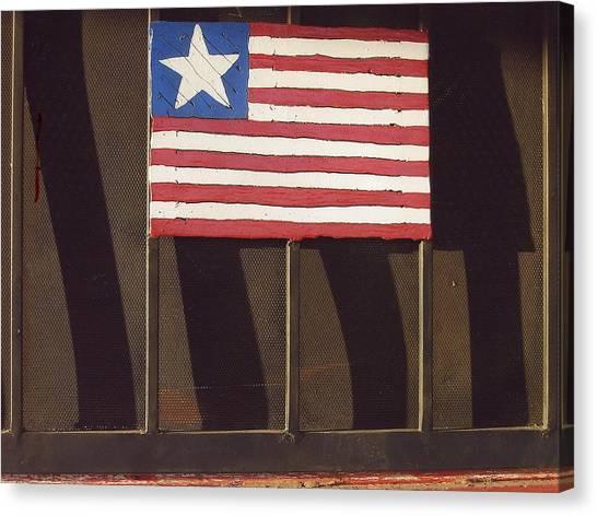 Jasper Johns Canvas Print - Art Homage Jasper Johns Flag Window Silver Dollar Bar Eloy Arizona 2004 by David Lee Guss