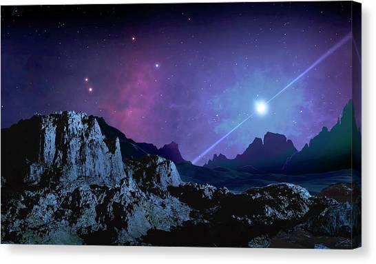 Pulsar Canvas Print - Artwork Of A Planet Orbiting A Pulsar by Mark Garlick