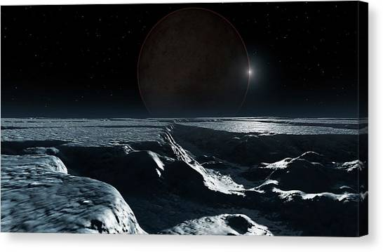 Pluto Canvas Print - Artwork Of Pluto Seen From Charon by Mark Garlick