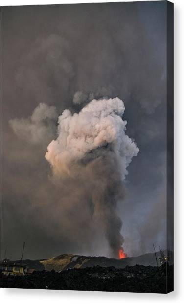 Mount Etna Canvas Print - Ash Column Rising From Mount Etna by Martin Rietze/science Photo Library