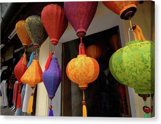 Asia, Vietnam Colorful Fabric Lanterns Canvas Print by Kevin Oke