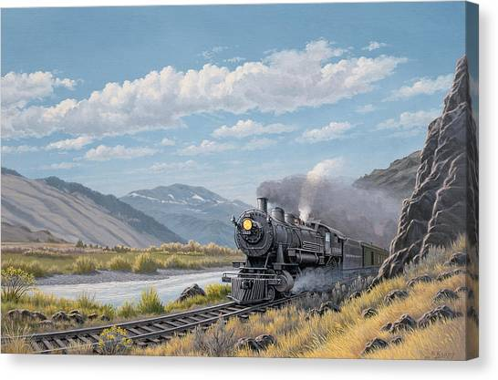 Yellowstone Canvas Print - At Point Of Rocks-bound For Livingston by Paul Krapf