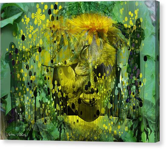 Canvas Print - Attacking The Dande-lion by Sabine Stetson