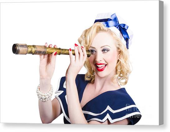 Girl Scouts Canvas Print - Attractive Pinup Sailor Girl With A Monocular by Jorgo Photography - Wall Art Gallery