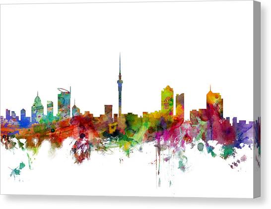 New Zealand Canvas Print - Auckland New Zealand Skyline by Michael Tompsett