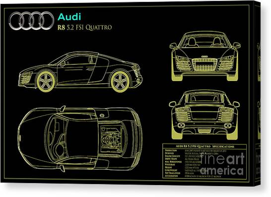 Car blueprint canvas prints fine art america car blueprint canvas print audi r8 blueprint by jon neidert malvernweather Gallery