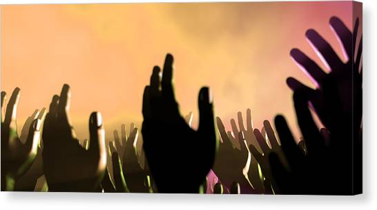 Beam Canvas Print - Audience Hands And Lights At Concert by Allan Swart