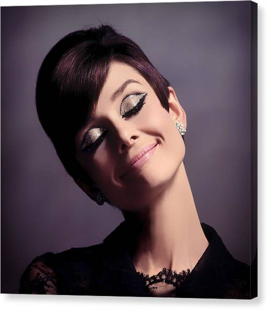 Actors Canvas Print - Audrey Hepburn by Mountain Dreams
