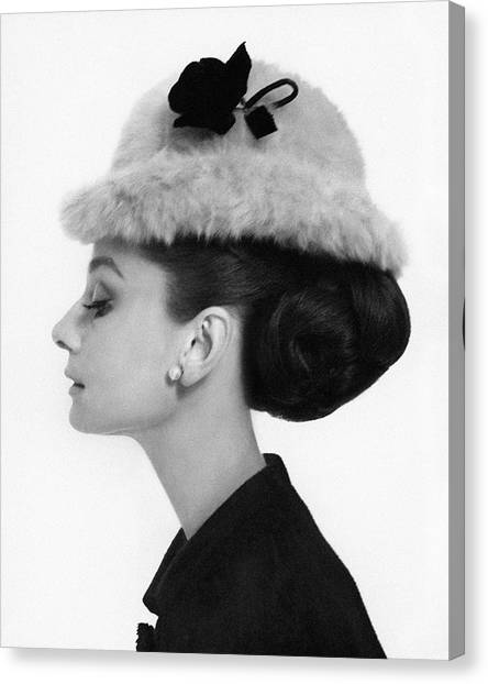 Shoulders Canvas Print - Audrey Hepburn Wearing A Givenchy Hat by Cecil Beaton