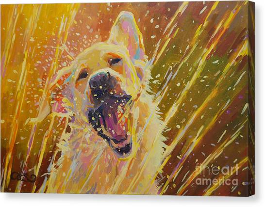 Yellow Lab Canvas Print - August by Kimberly Santini