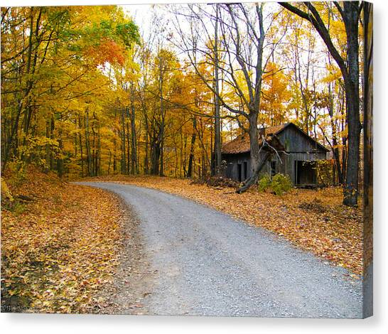 Autumn And The Old House Canvas Print