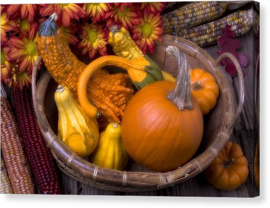 Fruit Baskets Canvas Print - Autumn Basket by Garry Gay