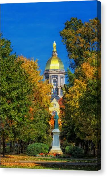 Notre Dame Canvas Print - Autumn On The Campus Of Notre Dame by Mountain Dreams