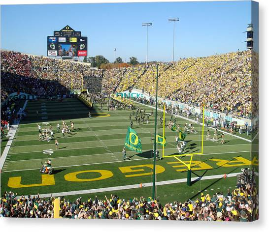 University Of Oregon Uo Canvas Print - Autzen Stadium by Georgia Fowler