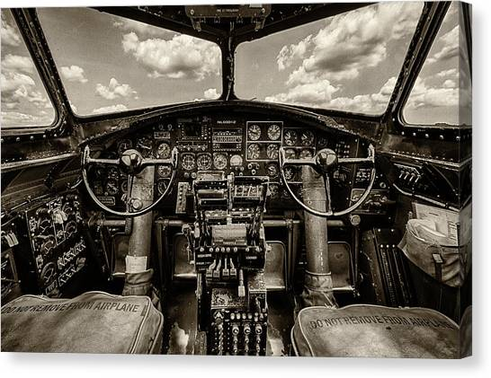 Pilots Canvas Print - Cockpit Of A B-17 by Mike Burgquist
