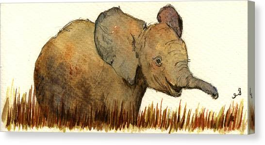 Mom Canvas Print - Baby Elephant by Juan  Bosco