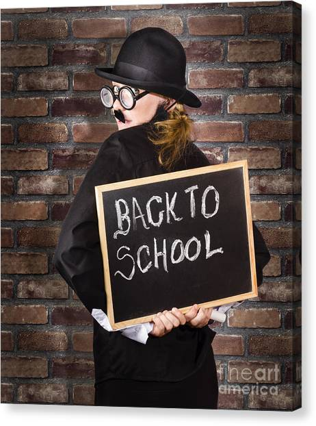 Brown University Canvas Print - Back To School Teacher Holding Blackboard And Chalk by Jorgo Photography - Wall Art Gallery
