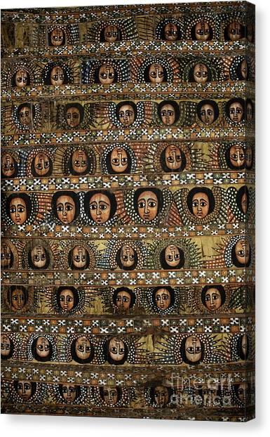 Coptic Art Canvas Print - Bahar Bahir Dar Ethiopia Bright Colour Painted Church Ceiling by Jacek Malipan