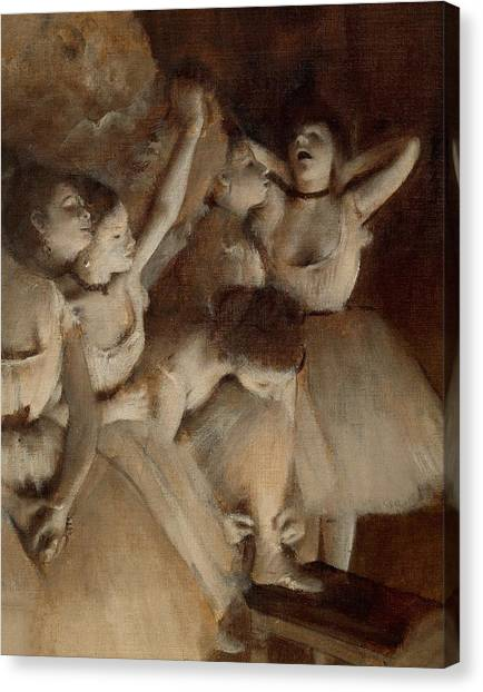 Anxious Canvas Print - Ballet Rehearsal On Stage by Edgar Degas