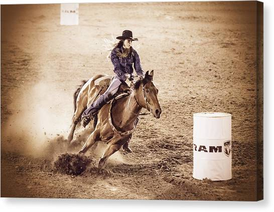 Barrel Racing Canvas Print - Barrel Racing by Caitlyn  Grasso