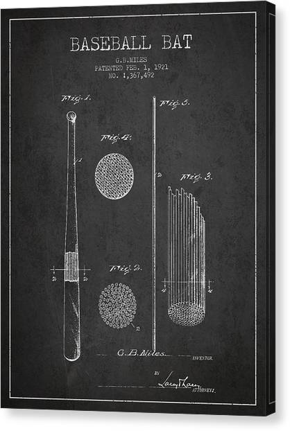 Softball Canvas Print - Baseball Bat Patent Drawing From 1921 by Aged Pixel