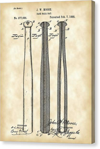 Fast Ball Canvas Print - Baseball Bat Patent 1888 - Vintage by Stephen Younts