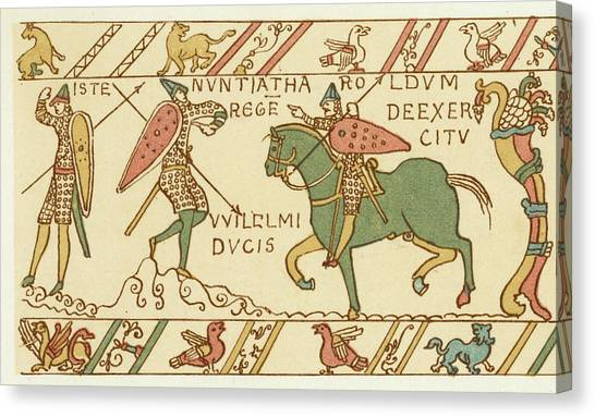 Battle Of Hastings A Sentinel Tells Canvas Print by Mary Evans Picture Library