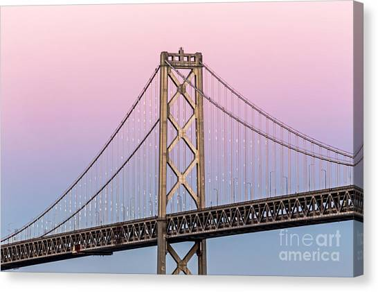 Canvas Print featuring the photograph Bay Bridge Lights At Sunset by Kate Brown