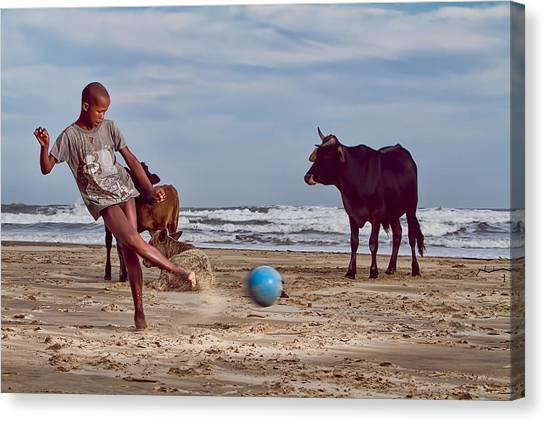 South African Canvas Print - Beach Football by Louis Kleynhans