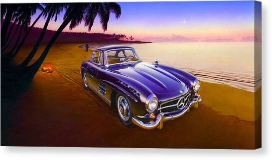 Motoring Canvas Print - Beach Mercedes by MGL Meiklejohn Graphics Licensing