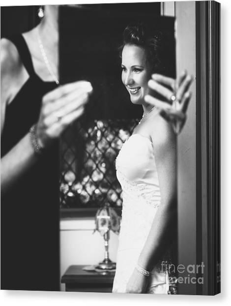 Wedding Gown Canvas Print - Beautiful Bride Getting Ready In Wedding Dress by Jorgo Photography - Wall Art Gallery
