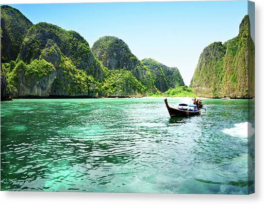 Phi Phi Island Canvas Print - Beautiful Tropical Beach In Thailand by Csondy