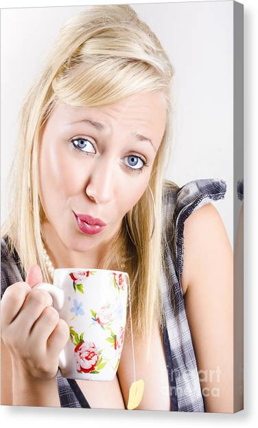 Sweet Tea Canvas Print - Beautiful Woman Drinking Cup Of Tea With Tea Bag by Jorgo Photography - Wall Art Gallery