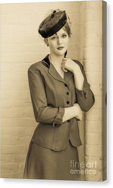 4a3dfb34352 Pillbox Hat Canvas Print - Beautiful Woman In Vintage Forties Clothing by  Diane Diederich