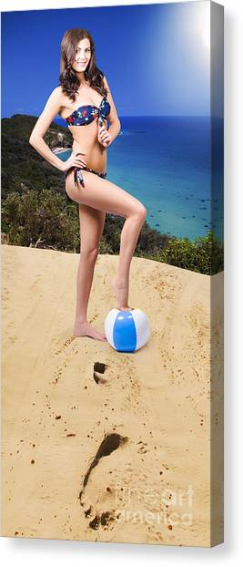 Volleyball Canvas Print - Beautiful Woman Relaxing At The Beach by Jorgo Photography - Wall Art Gallery