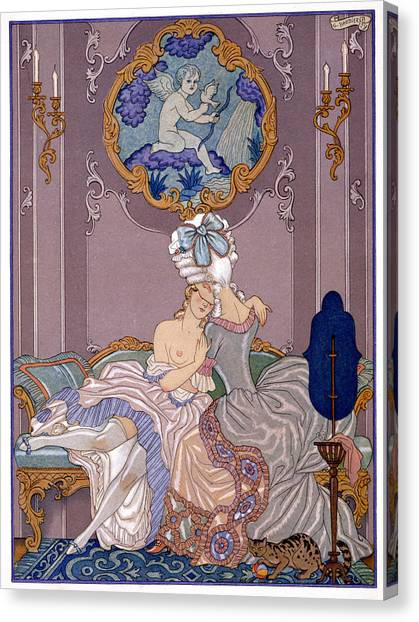 Erotic Framed Canvas Print - Bedroom Scene by Georges Barbier