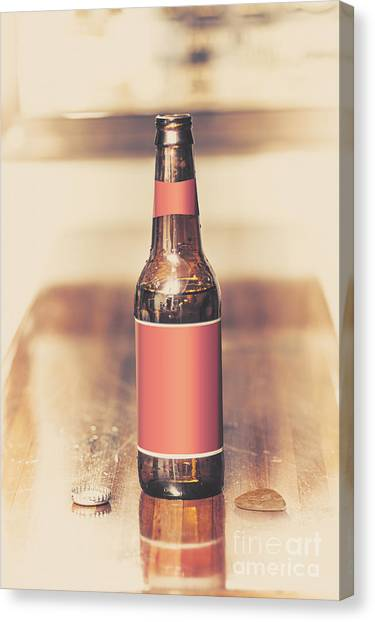 Guitar Picks Canvas Print - Beer Bottle And Guitar Pick On Bar. Top Pick by Jorgo Photography - Wall Art Gallery