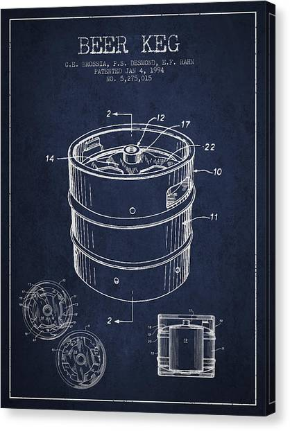 Beer Canvas Print - Beer Keg Patent Drawing - Green by Aged Pixel