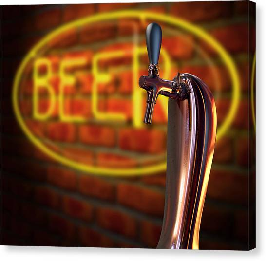 Brewery Canvas Print - Beer Tap Single With Neon Sign by Allan Swart