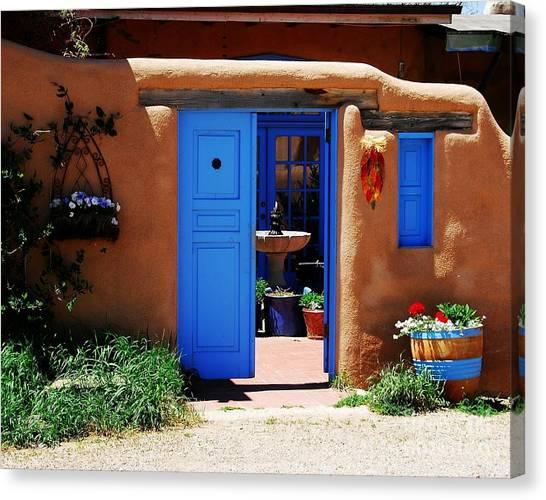 Blue Doors Canvas Print - Behind A Blue Door 1 by Mel Steinhauer