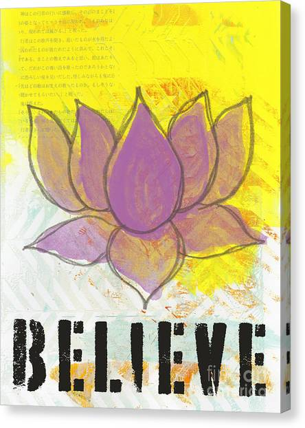 Yellow Flowers Canvas Print - Believe by Linda Woods