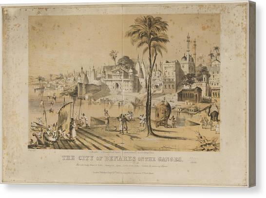 Ganges Canvas Print - Benares by British Library