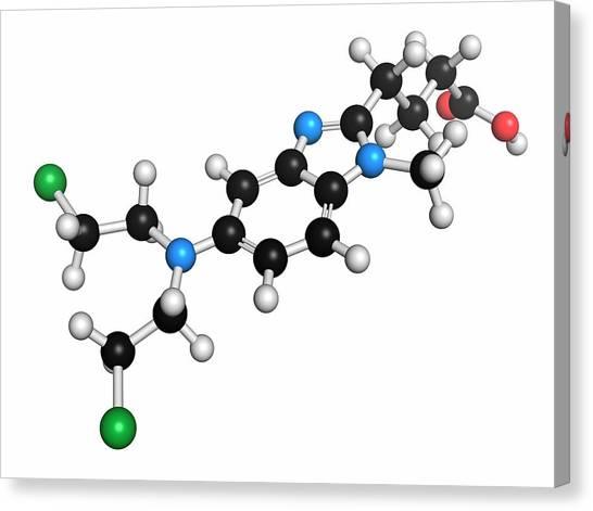 Mustard Canvas Print - Bendamustine Chemotherapy Drug Molecule by Molekuul