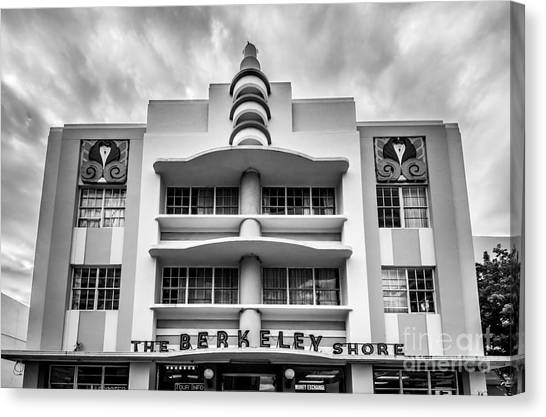 2013 Canvas Print - Berkeley Shores Hotel  2 - South Beach - Miami - Florida - Black And White by Ian Monk